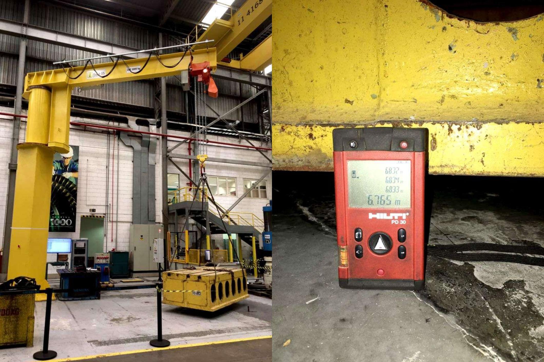 Guindaste giratório capacidade de 5.000 kgf x 6.0 m de lança